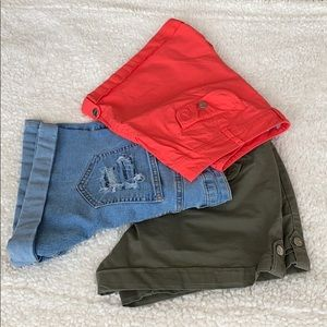 1 Jeans short and 2 fabric shorts for women's